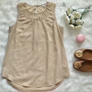 Tan Lace and Cut Out Detailed Sleeveless Top